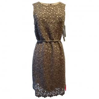 Dolce & Gabbana Brown Floral Applique Dress