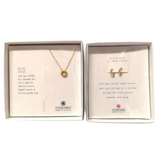 Dogeared Love Knot Necklace & Lil' Huggie Earrings
