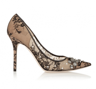 Jimmy Choo Black Lace Crystal Lyzo 100 Pumps