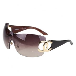 Chanel Brown/Gold CC Logo Shield Sunglasses