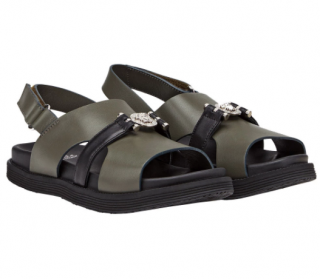 Young Versace Green Leather Medusa Strap Sandals