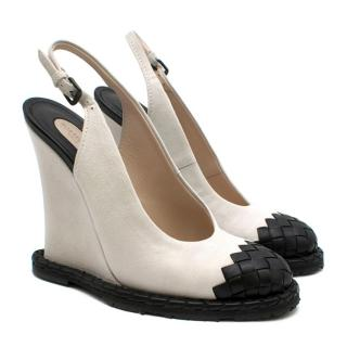 Bottega Veneta Intrecciato-Toe Slingback Suede White Wedges