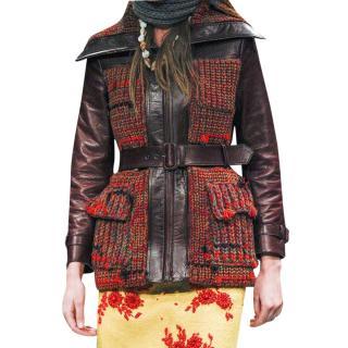Prada Brown Leather & Tweed Distressed Jacket