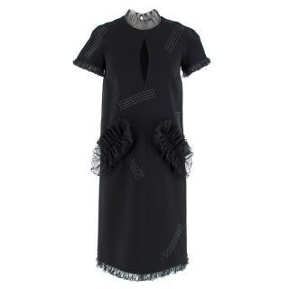 Christopher Kane Black Organza Frill High Neck Dress