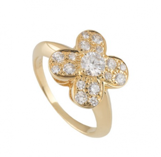 Van Cleef & Arpels 0.68ct Diamond Alhambra 18k Yellow Gold Ring