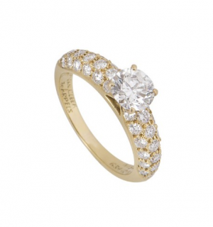 Van Cleef & Arpels 0.79ct Diamond Yellow Gold Solitaire Ring