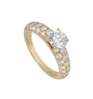 Van Cleef & Arpels 0.79ct Diamond Yellow Gold Solitaire Ring