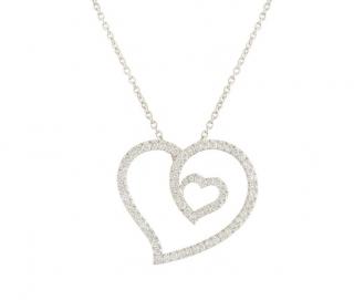 Roberto Coin Diamond & Ruby 18k White Gold Heart Pendant Necklace