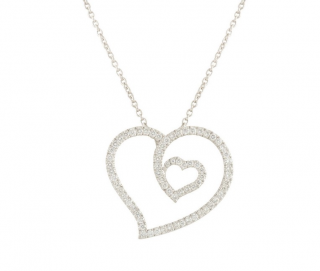 Roberto Coin Diamond & Ruby 18k White Gold Heart Pendant Necklace
