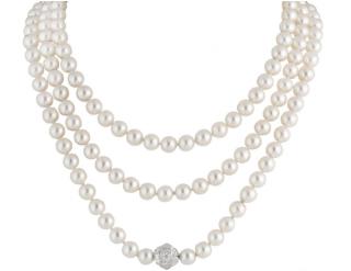 Chanel Cultured Pearl & Diamond White Gold Necklace
