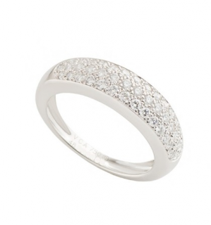 Van Cleef & Arpels Pave Diamond Set 18k White Gold Ring