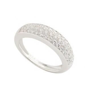 Van Cleef & Arpels Pave Diamond Set 18k White Gold Ring