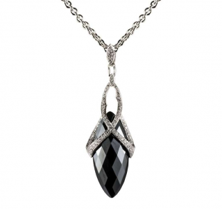 Stephen Webster Marquise Hematite & Diamond Drop Pendant Necklace