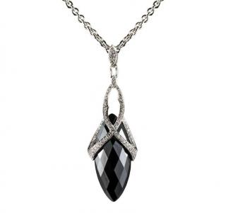 Stephen Webster Marquise Hematite & Diamond Drop Pendant Necklace