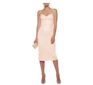 Rebecca Vallance Peach Crepe Midi Dress