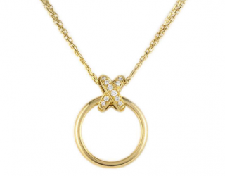 Chaumet Liens Collection Yellow Gold Pave Diamond Pendant Necklace