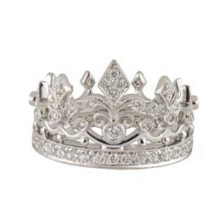 Garrard 0.88ct Pave Diamond White Gold Crown Ring