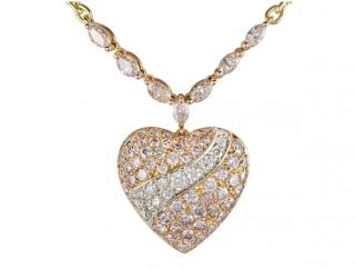 Boodles Yellow & Rose Gold Pave Pink Diamond Heart Pendant Necklace