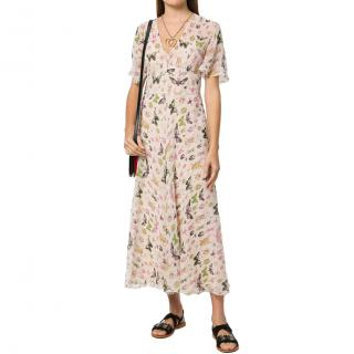 Red Valentino Silk Chiffon Bug Insect Butterfly Dress