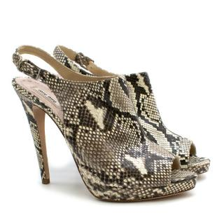 Miu Miu Python Leather Slingback Sandals