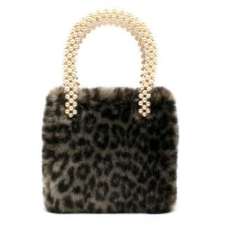 Shrimps Una Leopard Print Faux Fur Bag