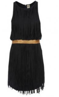 Haute Hippie Navy Suede Fringed Dress