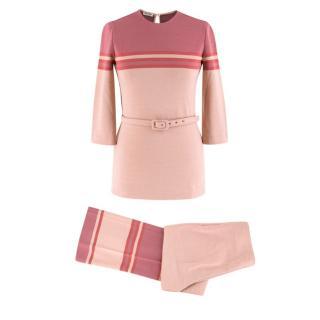 Miu Miu Pink Colour Block Wool blend Top & Trousers Set