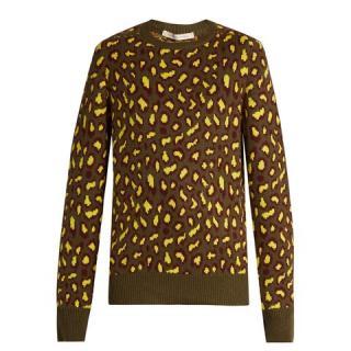 Christopher Kane Khaki & Yellow Leopard Print Cashmere Sweater