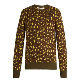 Christopher Kane Khaki & Yellow Leopard Print Cashmere Sweater