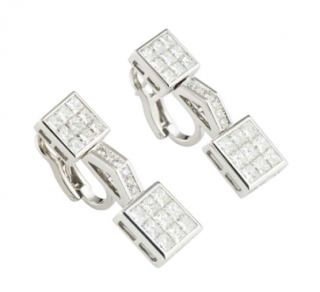 Mouawad White Gold Diamond Set Earrings