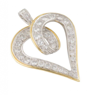 Kutchinsky Twisted Heart 18kt Gold Diamond Pendant