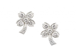 Tiffany & Co Pave Diamond Set Platinum Tree Earrings