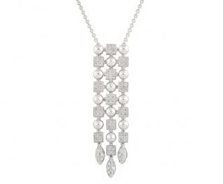 Bvlgari White Gold Diamond Waterfall Pendant Drop Necklace