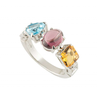 Bvlgari Tourmaline, Citrine, Topaz & Diamond White Gold Ring