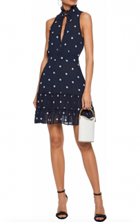 Nicholas Tie-Front Ruffled Printed Silk-Chiffon Mini Dress