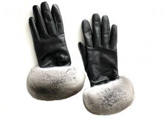 FurbySD Chinchilla Fur Trim Nappa Leather Gloves