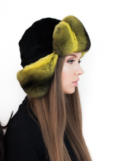 FurbySD Chinchilla Fur Ushanka Earflap Hat