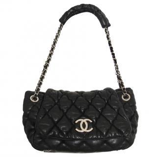 Chanel black bubble accordion flap bag