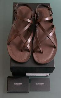 Saint Laurent Brown Leather Nu Pieds Flat Sandals