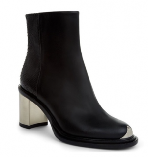 Attribute Silver Block heel leather and faux python ankle boots