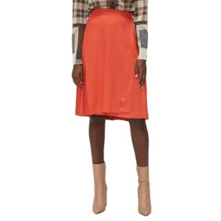 Le Kilt Orange Pleated Wool Skirt