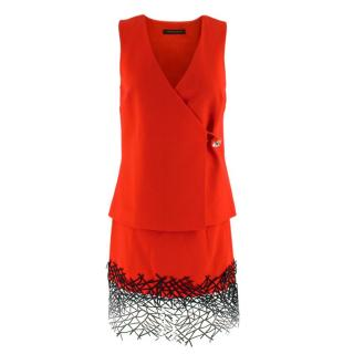 Christopher Kane Red Wool Embellished Wrap Top & Skirt