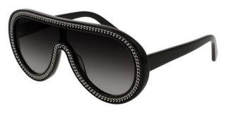 Stella McCartney Black Chain Trim Shield Sunglasses