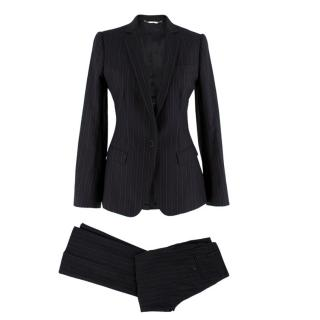 Dolce & Gabbana Grey Pin Striped Wool blend Trouser Suit