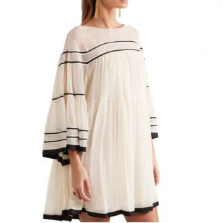 Chloe Striped silk-crepon mini dress