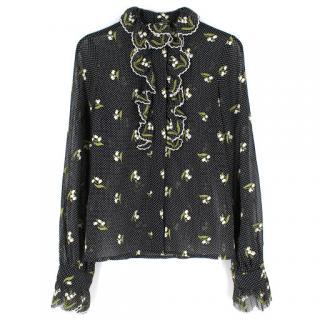Andrew GN Black Polka Dot Embroidered Shirt