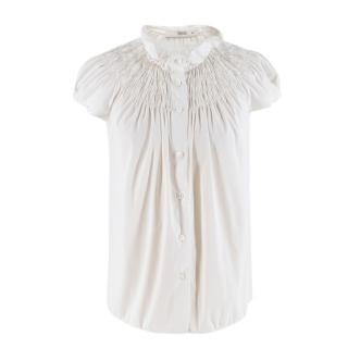 Prada White Smocked-Neck Cotton Poplin Blouse