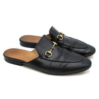 Gucci Princetown Black Leather Slippers