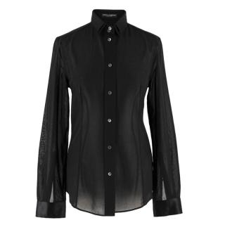 Dolce & Gabbana Black Double-Layered Collar Shirt