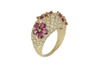 Graff Rubies & Diamonds Floral Set Yellow Gold Ring